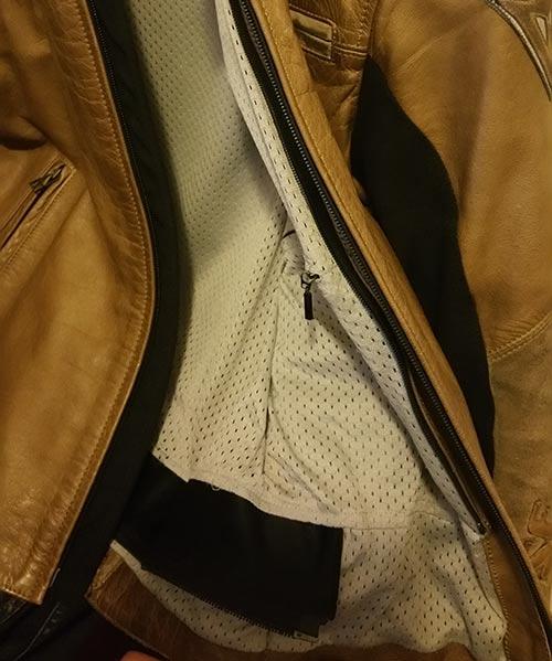 chaqueta de moto con cremallera para pantalón